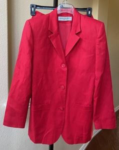 Amanda Smith Pure 100% Linen Red Skirt Suit